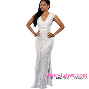 Hot sale White Lace Nude Side Slit mommy and me maxi dress