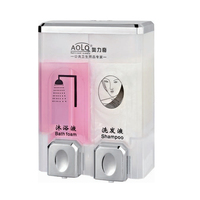 plastic wall mounted liquid double manual hand refillable hotel bathroom abs mini restaurant sanitary wholesale soap dispenser