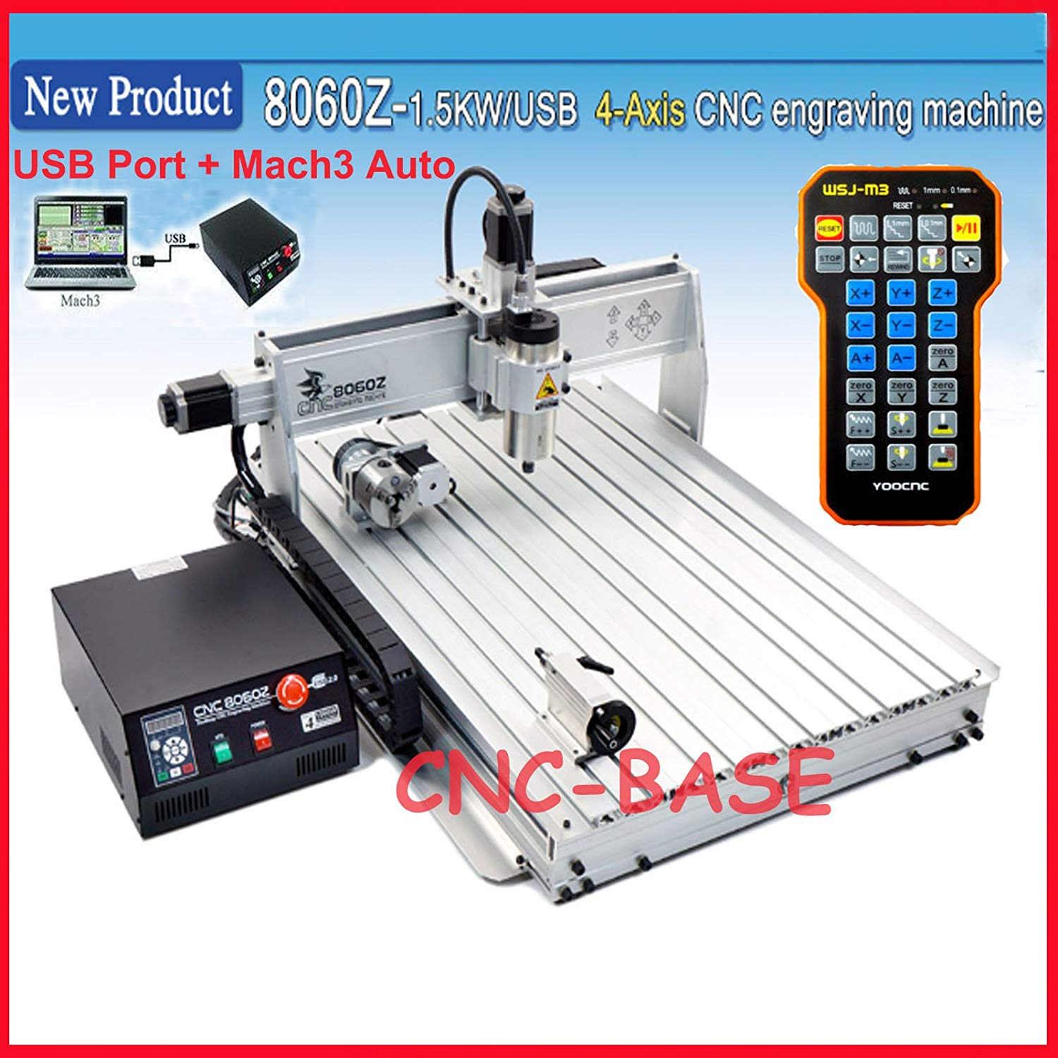 USA shipping no tax fee! USB port 8060 2.2KW cnc router / cnc engraving machine / milling and drilling carving machine + limit switch