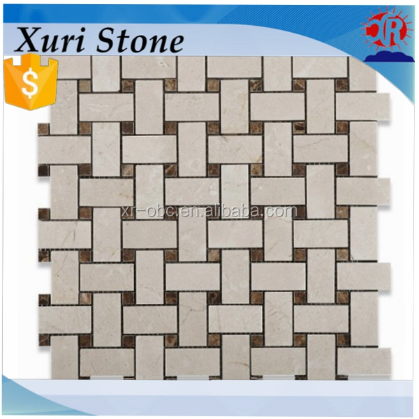 Oriental White - Eastern White Marble HONED Basketweave Mosaic Tile w/ Black Marble Dots - Box of 5 Sheets