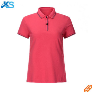 Cheap custom design printed short sleeve 100 cotton plain women polo t-shirt