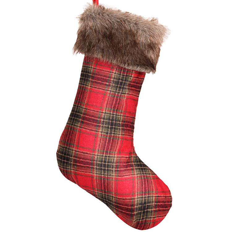 20 Inches Red Plaid Christmas Stockings with Brown Faux Fur Cuff for Xmas Holiday Party Decorations Gift