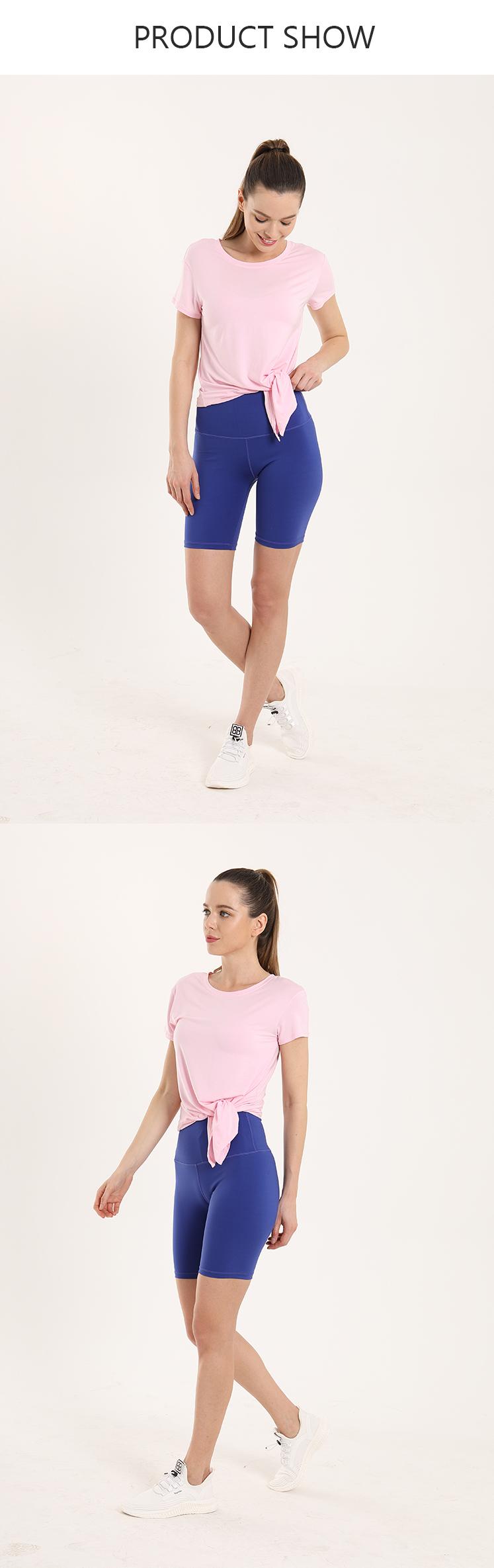 BWST004 Sexy Slim Fit Anteriore Tie Girocollo Manica Corta Donna di Sport di Yoga Crop Top
