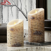 Set of 3 Flameless Moving Wick Flameless Led Birch Bark Candle