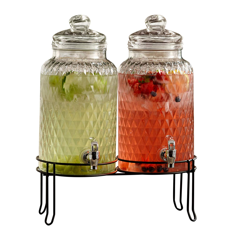 Palais Glassware Boisson Beverage Dispenser 1.5 Gallon Capacity DRINK! Gold Print