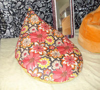 triangle beanbag chair with flower pattern cover (NW1061)
