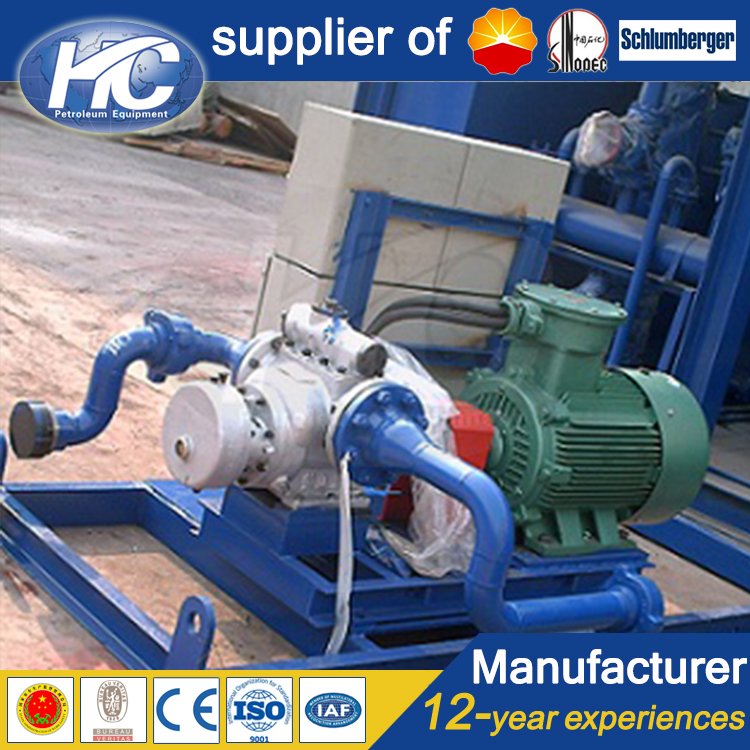 Easy to install and maintain crude oil transfer pump / fluid transfer pump with skid-mounted