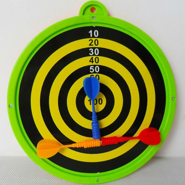 Double sided dart board with magnetic