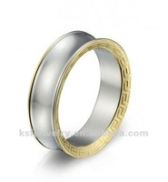 Stainless Steel Concave Ring with Goldplated Greek Key Edge