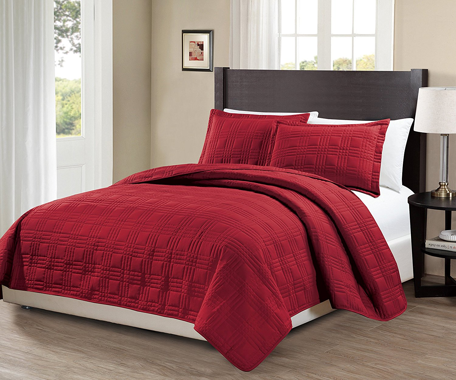 Fancy Collection 3pc Full/Queen Oversize Quilted Bedspread Coverlet Set Embroidery Solid Red New