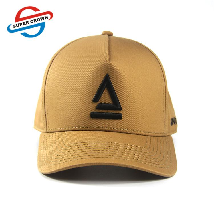 High Quality  Crown unisex Custom Triangle Symbol Embroidery logo 5 Panel  Mens Baseball Caps hat for men women
