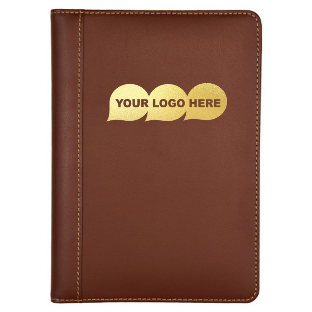 Contrast Stitch Leather Junior Padfolio / Size: 9.43″ L x 12.5″ H x .75″ W - 250 Quantity - $8.09 Each - PROMOTIONAL PRODUCT / BULK / BRANDED with YOUR LOGO / CUSTOMIZED