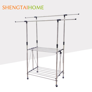 New Design Folding Stainless Steel Double Layer Clothes Drying Rack