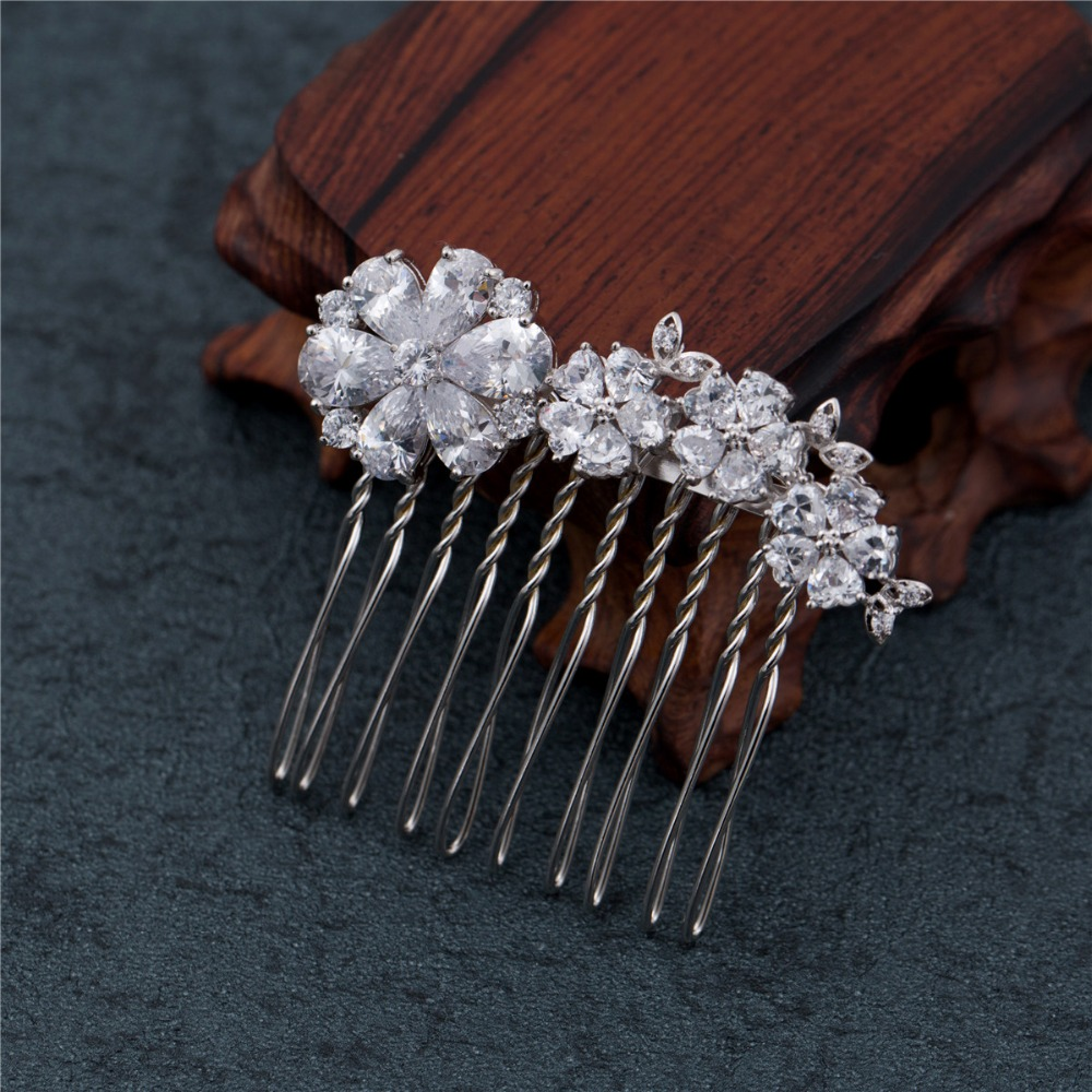 Flower Rhinestone Wedding Hair Combs CZ for Bridal Hair Accessories Wedding Jewelry FS0060