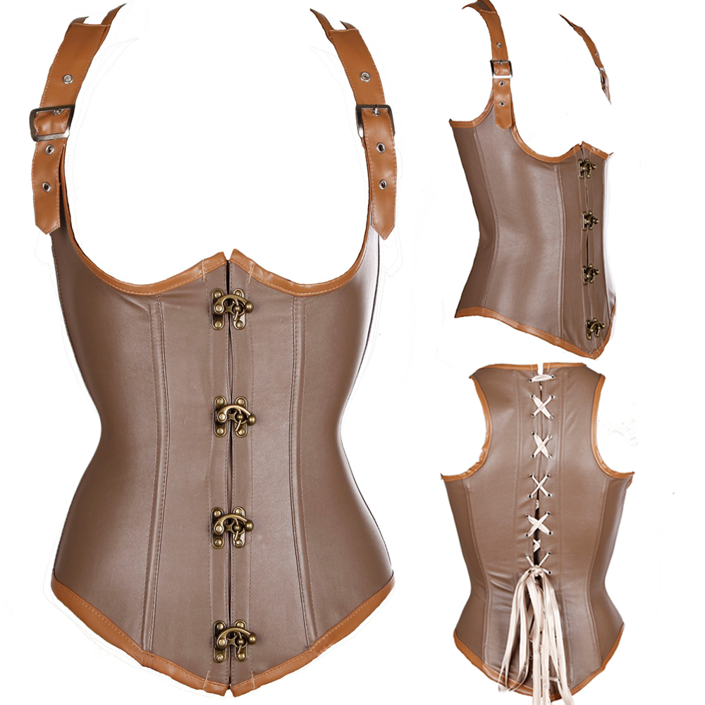 13fef9e970f Grey Brocade Faux Leather Buckles Steampunk Clothing Women Plus Size Corset  Gothic Full Steel Boned Corsets Overbust Bustier