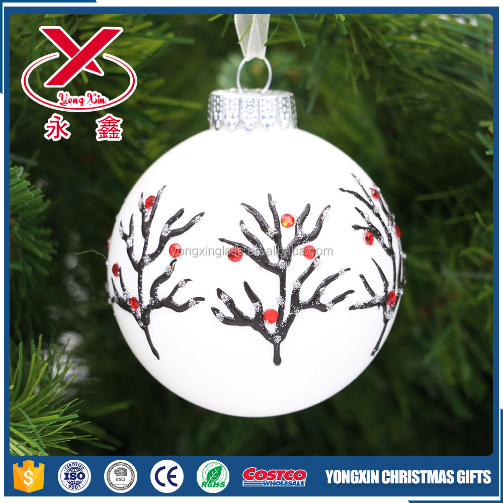 New design hand painted glass christmas balls hanging glass ornaments