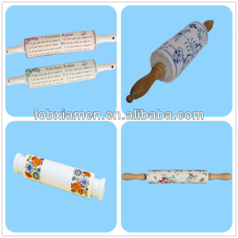 Hot Selling Wood Handle Floral Rolling Pin