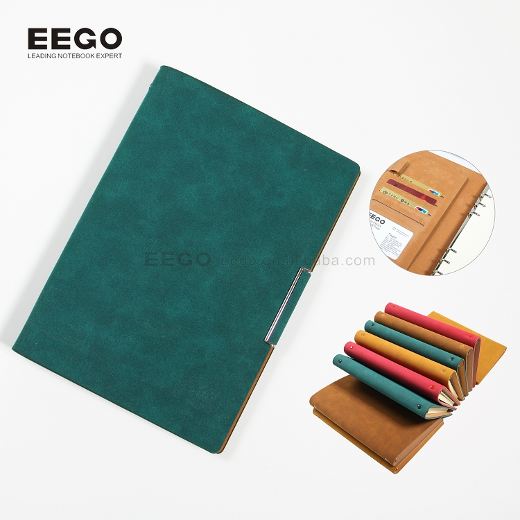 2018 pocket calendars wholesale a5 office stationery metal 6-ring binder organizer, leather refillable soft cover notebook