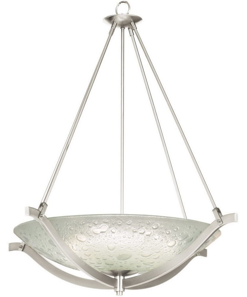 Get Ations Usa Warehouse Satin Nickel Fluorescent 30 Chandelier Pendant With Clear Bubble Glass