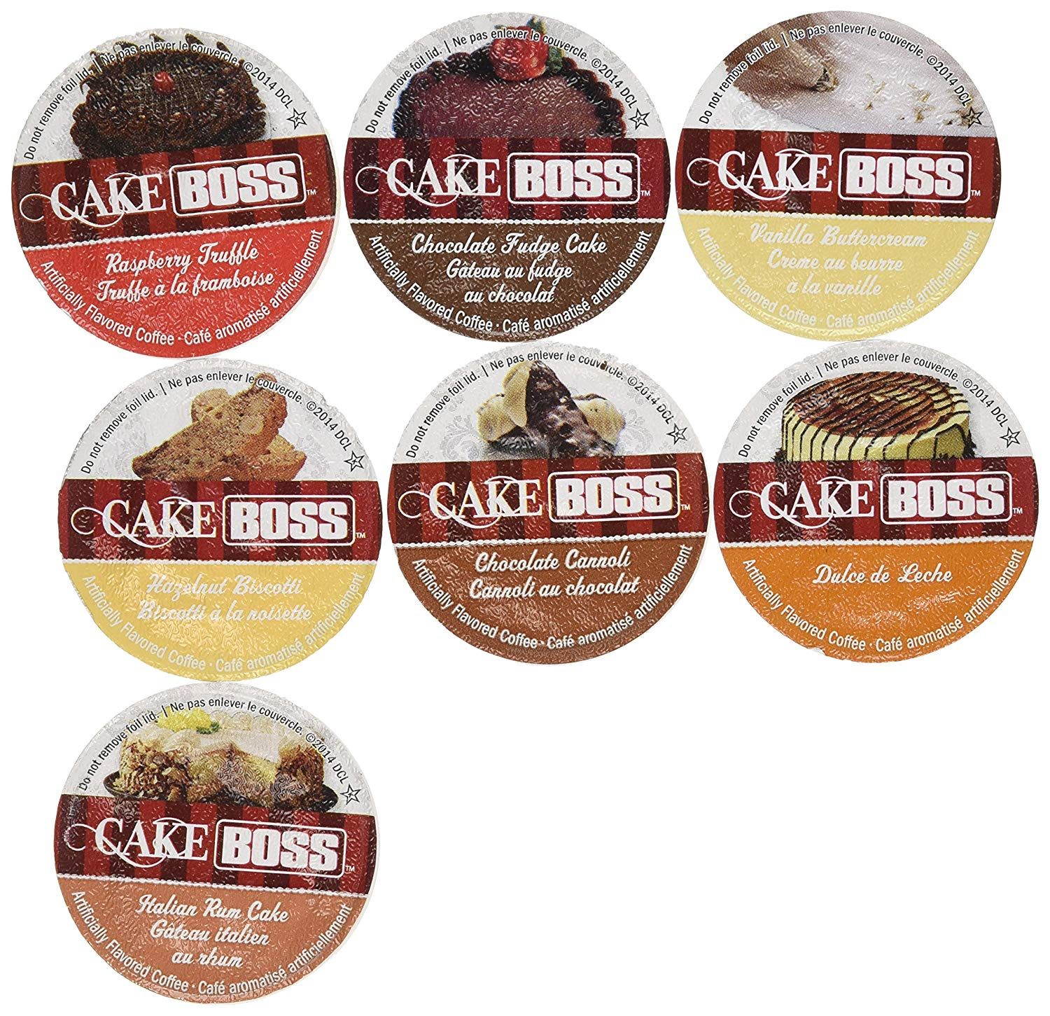 20 Cup Cake Boss® FLAVORED ONLY Coffee Sampler! 7 New Delicious Flavors! NO DECAF! Chocolate Cannoli, Italian Rum Cake, Raspberry Truffle, Dulce De Leche (caramel) + So Delicious!