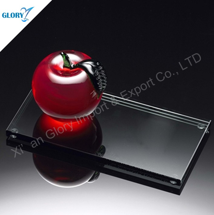 Christmas Red Glass Crystal Apple Decoration for Gift