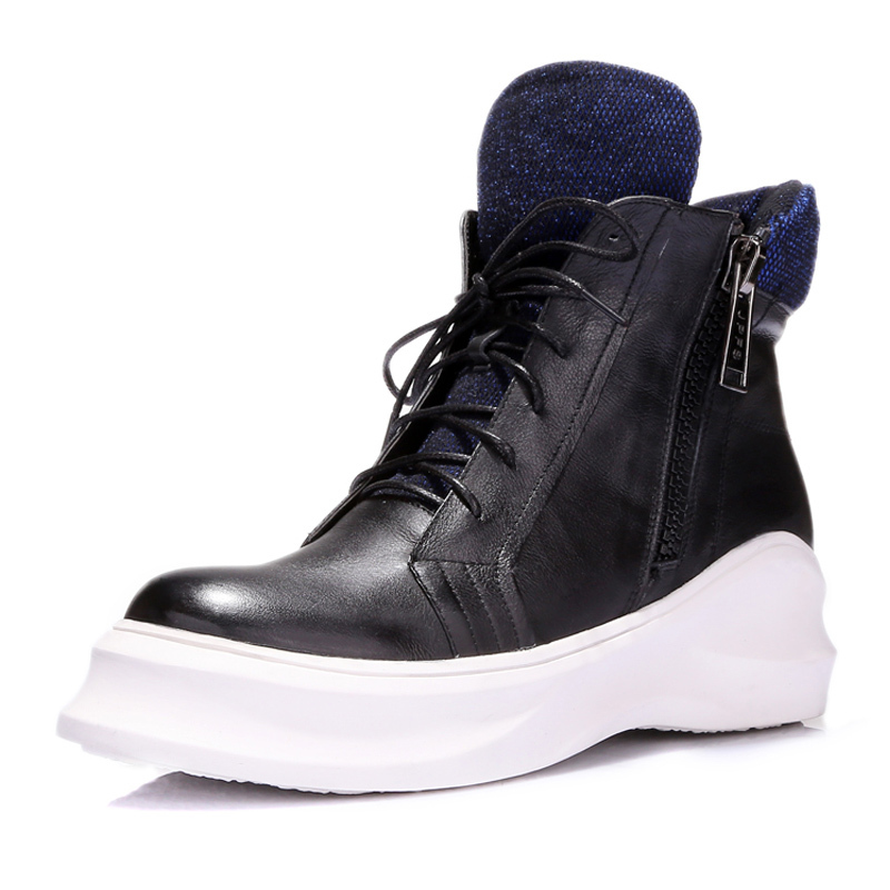 Fashion Huikang Brand Boots For Women Genuine Leather Ladies Ankle Boots Punk Vintage Platform Female Shoes Boots Scarpe A1-6018