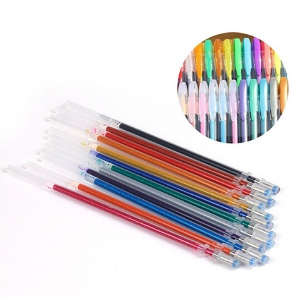 FTXJ 60PCS 1.0mm Multicolor Pastel Neon Glitter Gel Rollerball Pen Refills for Coloring Books, Scrapbooking, Drawing