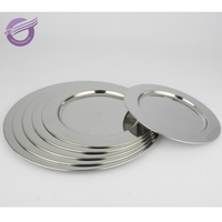 K9598 Wholesale Cheap silver metal stainless steel dinner charger plates
