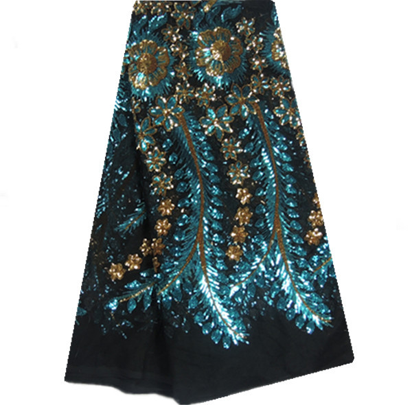 29K906! Black+Sea Blue+Gold,Fancy African net lace fabric with sequins,French lace fabric,net lace for party dress!