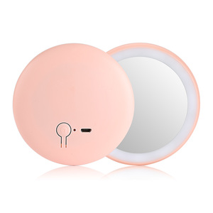Wholesale colorful charging USB portable makeup mini led round mirror