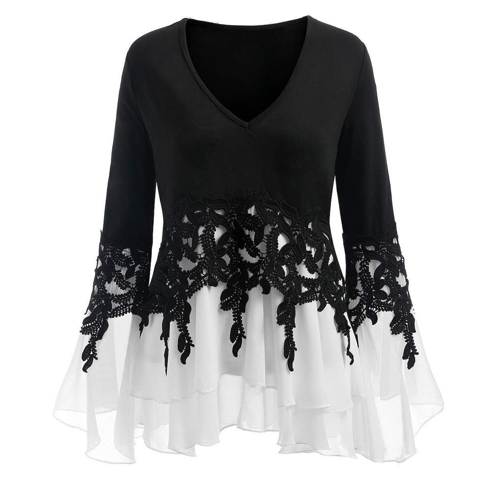 Womens Tops and Blouses Plus Size Womens Fashion Casual Applique Flowy Chiffon V-Neck Long Sleeve Blouse Tops
