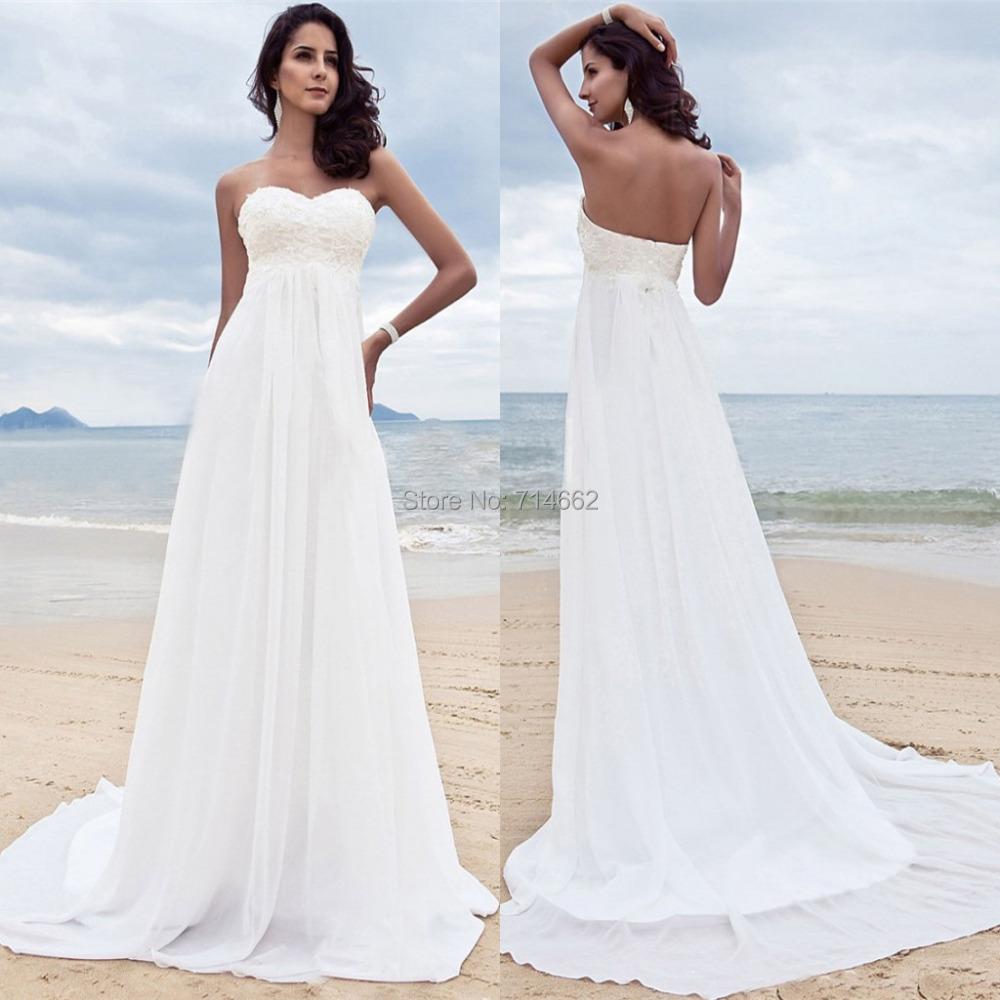 Ivory Sweetheart Beaded Empire Chiffon Wedding Dresses