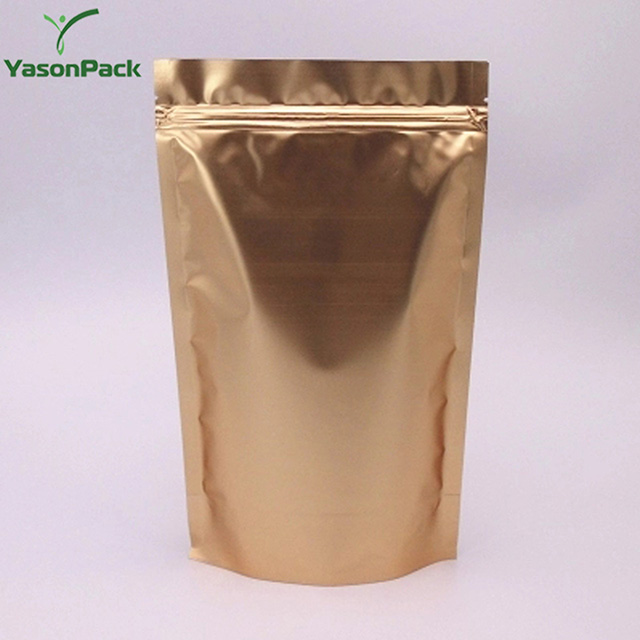 Custom printed clear aluminum gold foil small stand up pouch with zipper