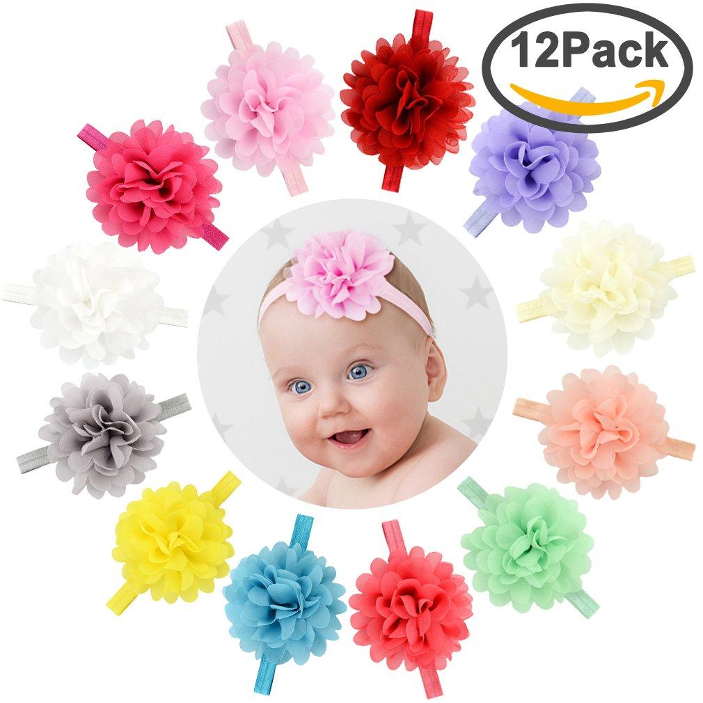 699e9f9b0a9a Get Quotations · Yariew 12 Pcs Baby Girls Flower Headbands