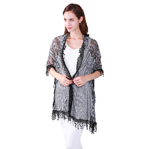 High quality embroidery women Lace elegant poncho pashmina shawl scarf with tassels