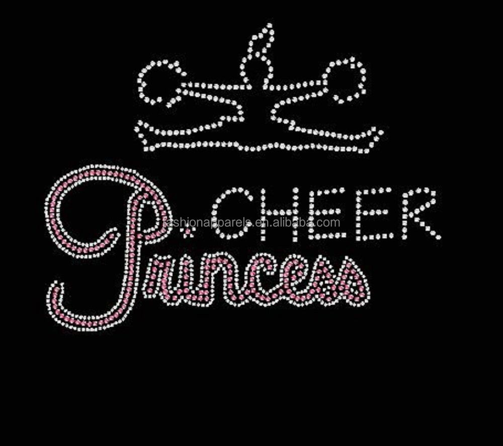 high quality custom cheer princess hot fix rhinestone transfer,OEM bling rhhinestone transfer for cloth