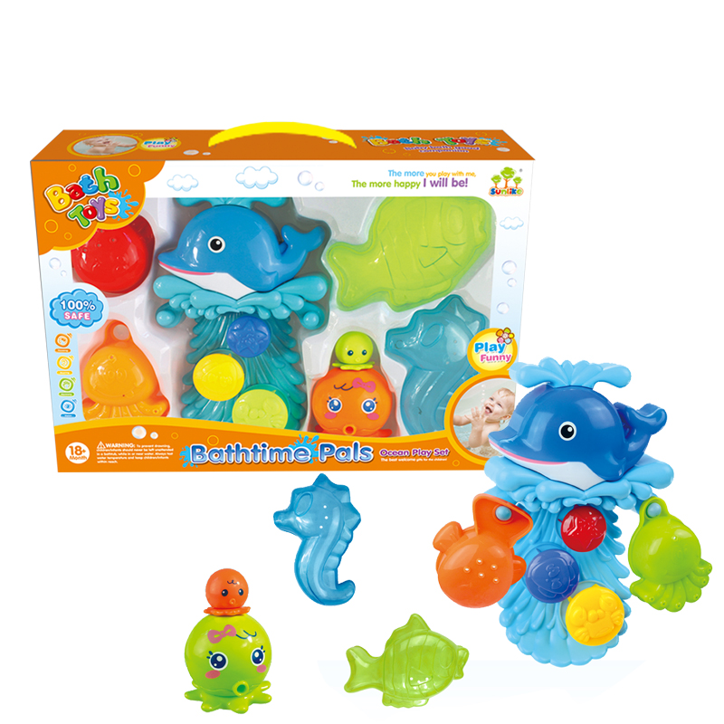 Cute eco-friendly sea animals baby toys bath toy set