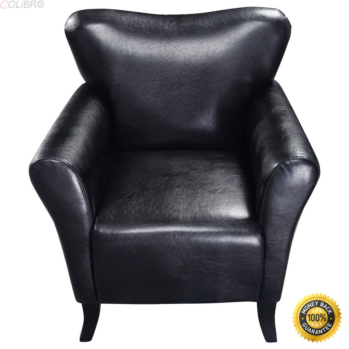 COLIBROX--New Modern PU Leather Leisure Arm Chair Single Sofa Seat Furniture Black,armchair cheap,Soft Modern Arm Chair,cheap living room chairs,living room chair,chairs for sale cheap