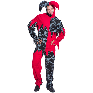 Promotional Funny Carnival Clown jester Costumes Adult Halloween Cosplay Uniforms For adults