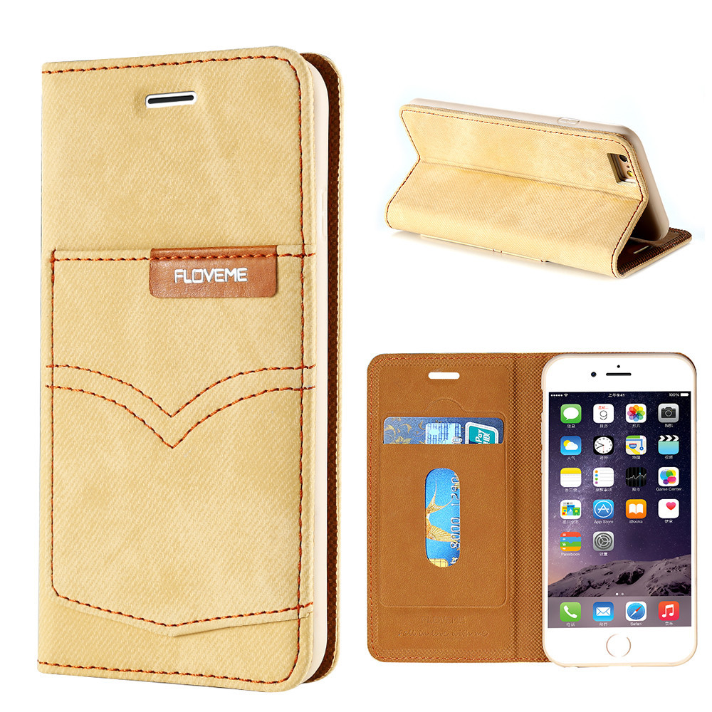 Luxury FLOVEME New Jeans Skin Phone Case Jeans+Leather Flip Wallet Card Mobile Phone Case For IPhone 6s 7 8 With Card holder