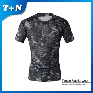 Latest design athletic apparel manufacturers , Elastane body tight t shirts