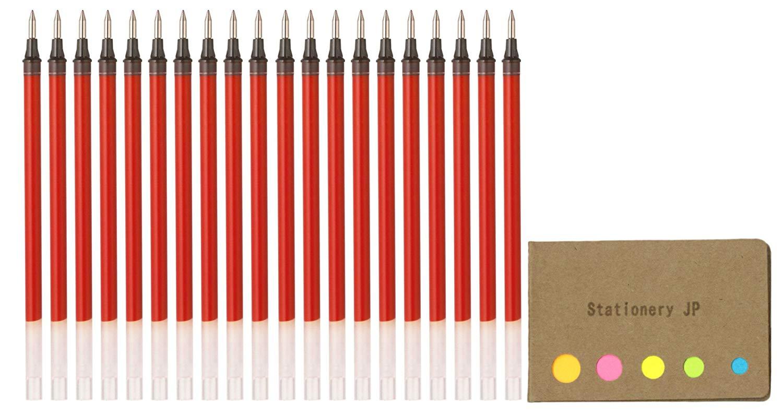 Uni-ball UMR-1-05 Refills for Signo Gel Ink Ballpoint Pen, UM-151 DX, 0.5mm, Red Ink, 20-pack, Sticky Notes Value Set