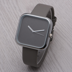 2017 Stainless Steel case Genuine Leather Band Minimalist square watches