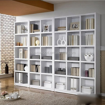 HX MZ844 Fashionale Wide And Tall White Wooden Bookshelf