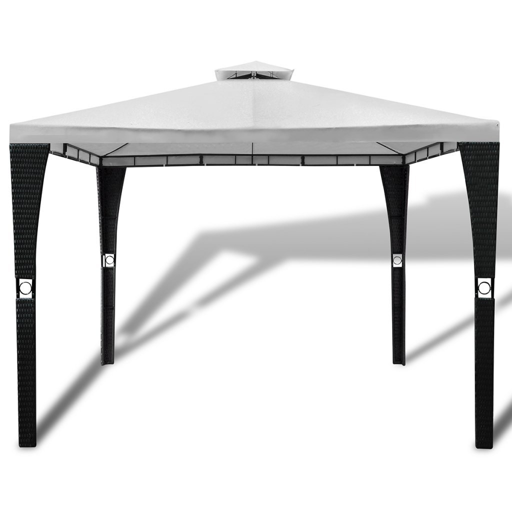 Buy Anself Double Roof Patio Gazebo with Poly Rattan Steel Frame, 10 ...