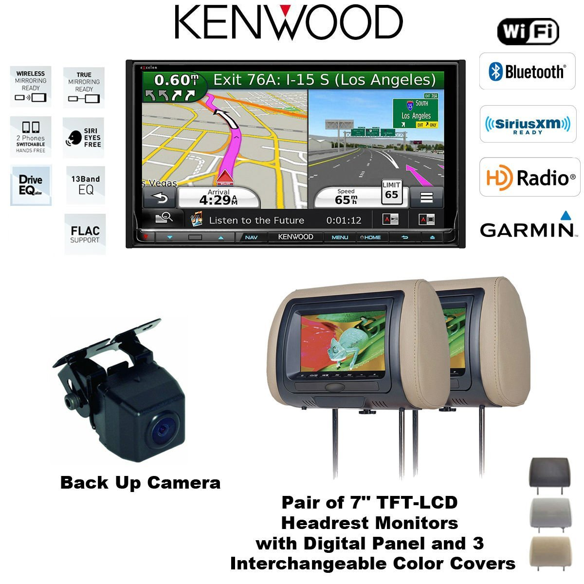Kenwood DNN991HD In Dash Double Din DVD Navigation Receiver with Built in Bluetooth, Two CLS700X Headrest Monitors and a TE-SSC Backup Rear View Camera Package and FREE SOTS Air Freshener