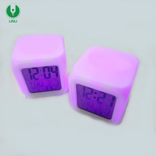 Promotional Gifts Cube Mini Led Glow Color Changing Desk Digital Alarm Clock