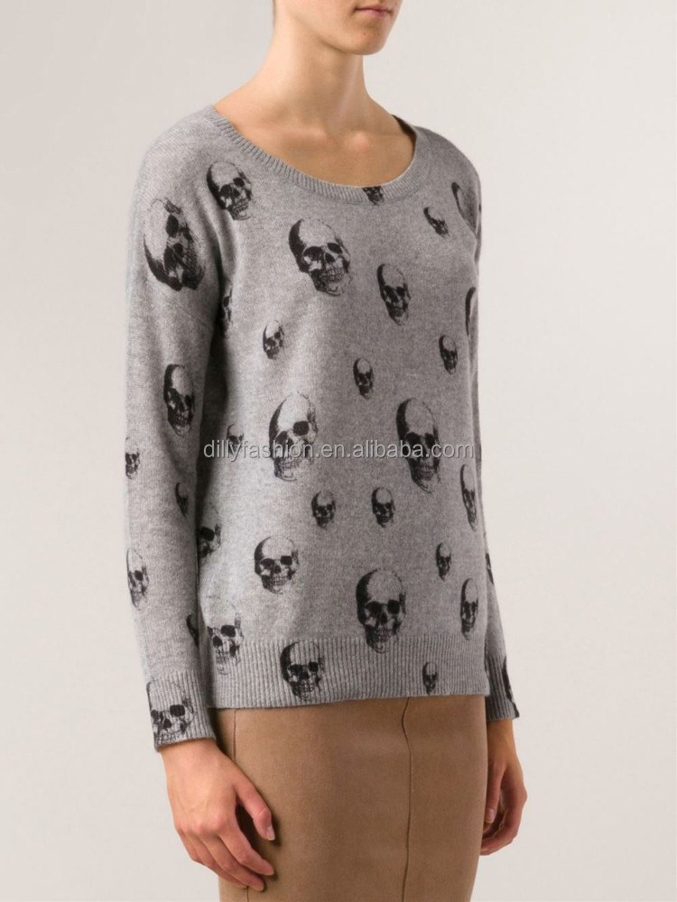 Heather grey and black cashmere skull print knit pullover