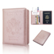 Custom Travel Wallet Leather Cover Case for Passport Holder,RFID Blocking, Rose gold