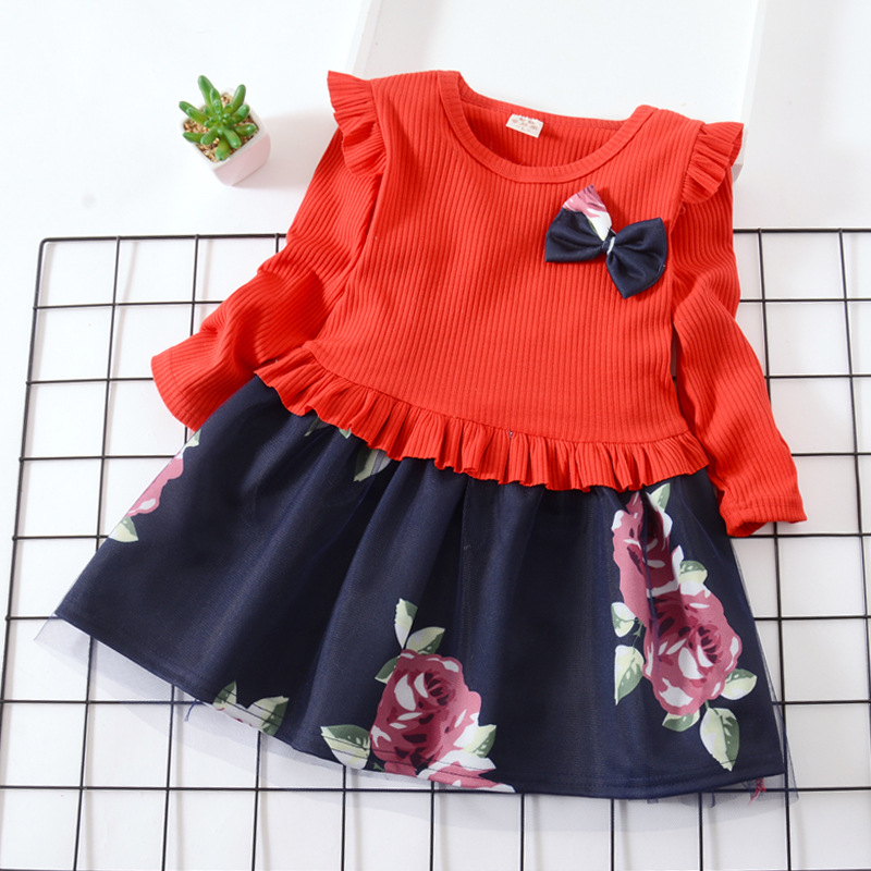 Hao Baby Autumn New Girls Long-Sleeved Dress Korean Version Of The Cute Mesh Western Princess Dress Girl Skirt